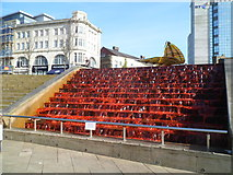 SS6593 : Red water and a leaf/boat sculpture, Castle Plaza, Swansea by Jaggery