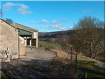 SK2376 : Farm buildings south of Grindleford by Neil Theasby