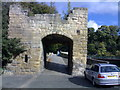 NU2406 : Gateway to bridge across River Coquet at Warkworth, Northumberland by Chris Morgan