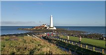 NZ3575 : St Mary's Island and lighthouse from Curry's Point, Whitley Bay by Chris Morgan