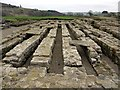 NY7766 : Remains of Granary, Vindolanda Roman Fort by Andrew Curtis