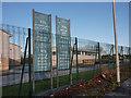 SJ8293 : Banners at Chorlton High School by Phil Champion