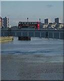 TQ2575 : Bus on Wandsworth Bridge by Derek Harper