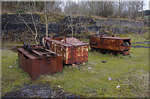 SK2855 : Abandoned wagons, Coal Hills Quarry by Ian Taylor