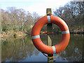 TQ2586 : Lifebuoy at Leg of Mutton Pond by Stephen Craven