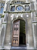 SP5106 : Doorway and clock, Exeter College, Turl Street, Oxford by Robin Sones