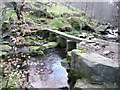 SE0022 : Clapper bridge across Turvin Clough, from the north by Humphrey Bolton