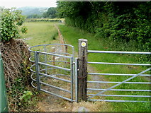 SN7634 : Kissing gate to a riverside walk, Llandovery by Jaggery