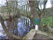 SK3089 : Water level monitor in the river Loxley by Rudi Winter