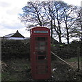 SK2890 : Phone box at Stacey Bank by Rudi Winter