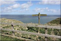 TA1974 : Headland Way footpath sign, above Bempton Cliffs by Pauline E
