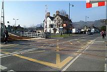 SH5639 : High Street level crossing, Porthmadog by Jaggery