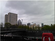 TQ3680 : View of Canary Wharf from the Limehouse Cut by Robert Lamb