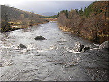 NM8363 : Strontian River from lower footbridge by Peter Bond