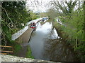 SJ3333 : Canal moorings at Hindford Bridge by Jeremy Bolwell