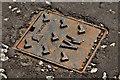 "J3774 : ""Norinco"" access cover, Belfast by Albert Bridge"