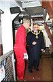 SO8218 : Gloucester Waterways Museum- the Mayor on board SND No. 4 dredger by Chris Allen