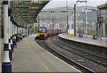 SD9851 : Leeds bound train at Skipton Station by Pauline E