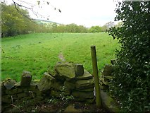 SE0421 : Sowerby Bridge Footpath 135 leaving Butterworth End Wood, Norland by Humphrey Bolton