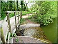 SJ7371 : Outflow weir, Shackerley Mere by Christine Johnstone