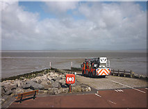 SD4364 : A fire engine on the slipway, Morecambe and Heysham Sailing Club by Karl and Ali