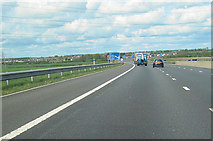 NY3366 : M6 approaching Gretna turnoff by John Firth