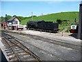 SJ9851 : Signal box and steam locomotive, Cheddleton by Christine Johnstone