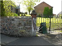NY3459 : Churchyard wall and gate by Rose and Trev Clough