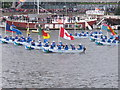 TQ2777 : Diamond Jubilee Pageant - sea cadets with 55 Commonwealth flags by David Hawgood