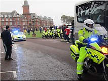 J3731 : PSNI Olympic Torch Relay Escort outside the Slieve Donard Hotel by Eric Jones