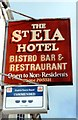 SW5139 : Sign for St Eia Hotel, Bistro Bar & Restraurant (sic) by Tiger