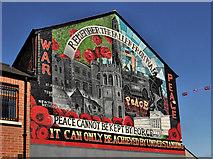 """J3574 : """"War and Peace"""" mural, Ballymacarrett, Belfast by Albert Bridge"""