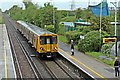 SJ3774 : Train arriving, Capenhurst Railway Station by El Pollock