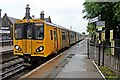 SJ3776 : Train, Little Sutton Railway Station by El Pollock