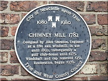 NZ2465 : The Blue Plaque, Chimney Mill, Newcastle upon Tyne by Bill Henderson