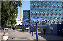 TQ3979 : North Greenwich:  View along Parkside East by Dr Neil Clifton