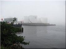 NJ9505 : Oil depot, Point Law by Richard Webb