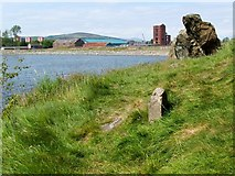 NS3974 : Dumbarton Rock: War Department boundary stone no. 2 by Lairich Rig