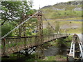SN9364 : Side view of the disused River Elan suspension bridge by Jaggery