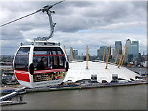TQ3980 : Emirates Air Line cable car passing the O2 Arena by PAUL FARMER