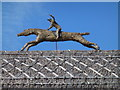 TL6161 : The July Course, Newmarket - Horse and jockey on the roof by Richard Humphrey