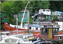 TQ1673 : Boats at Eel Pie Island, Twickenham by Stefan Czapski