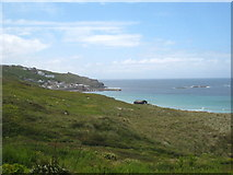 SW3526 : Looking across the dunes towards Sennen Cove by Rod Allday