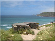 SW3526 : Pillbox above the beach at Whitesand Bay by Rod Allday