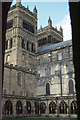 NZ2742 : Durham cathedral: west towers from cloister by Christopher Hilton