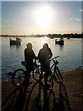 SZ1891 : Mudeford: cyclists take a breather by Chris Downer