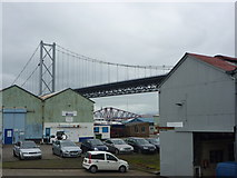 NT1278 : South Queensferry Townscape : Bridges and Sheds at Port Edgar by Richard West