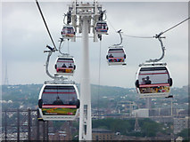 TQ3979 : Cable Cars across The Thames by Christine Matthews