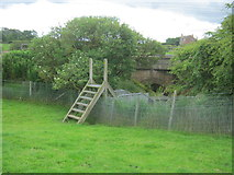 NZ3024 : Ladder stile for footpath to pass through flood arch of ECML bridge over the River Skerne by peter robinson
