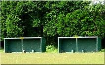 TQ8115 : Dugouts, Parish Field, home of Westfield FC (Sussex) by nick macneill